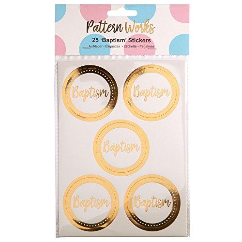 Neviti Modello Works–Sticker Battesimo, Oro, Confezione da 25
