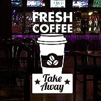 Doumaishop コーヒーショップウィンドウステッカー、ドアフレッシュコーヒーとステッカーを取るビニールビジネスショップの装飾取り外し可能なフレスコ画Z352