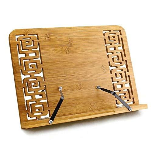 5 Hoogteverstelling Boekenstandaard Leessteun Tablet Cook Home Studeerkamer Boekhouder Opvouwbaar Kookboek Standpagina's Vaste Bamboe,34 * 24cm