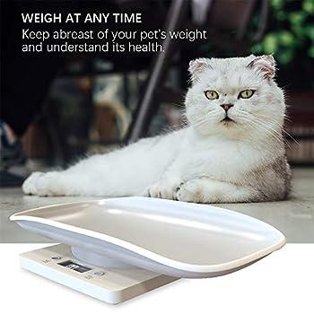 ZZM Petite balance de pesée numérique pour animal de compagnie, pour nouveau-né, chiot, chaton, avec écran LCD précis et plate-forme incurvée confortable, capacité jusqu'à 10 kg