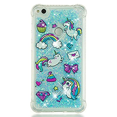 HopMore Glitter Funda para Huawei P8 Lite 2017 Silicona 3D Liquido Brillante Transparente Purpurina Motivo Kawaii TPU Carcasa Ultrafina Slim Case Antigolpes Protección Cover - Unicornio Unicorn