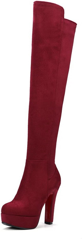 WeiPoot Women's Imitated Suede High-top Solid Zipper High-Heels Boots