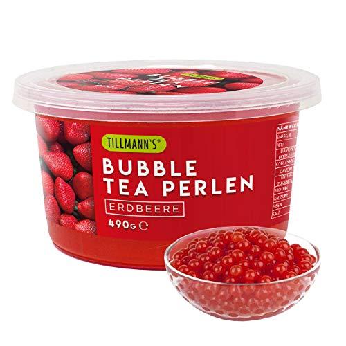 Bubble Tea Perlen Erdbeere | 490g Popping Boba Fruchtperlen für Bubble Tea | 100% gelatine- & glutenfrei | mit echtem Fruchtsaft