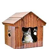 AIHOME DIY multifunktionale Holz Katze Haus Wasserdicht Outdoor Pet Play Home Dach Katzennest Holzmaserung Haustier Haus Katze Scratch Board Katze Shelter Heimtierbedarf