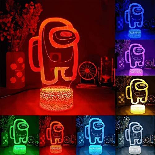Among Us - Lámpara de noche con ilusión en 3D, 7 colores de ilusión nocturna, lámpara de mesa, luz nocturna para habitación infantil
