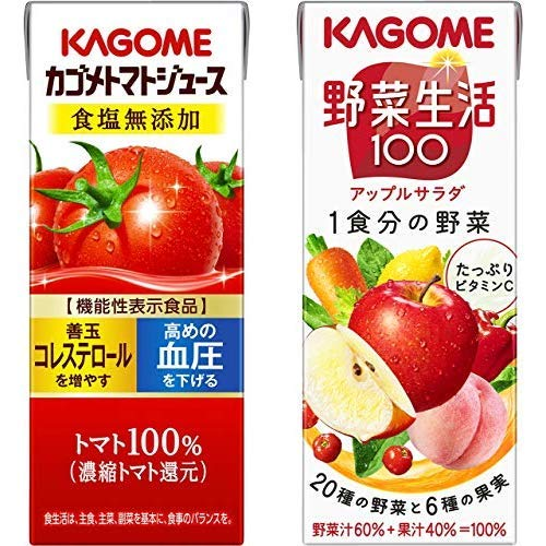 【セット買い】【セット買い】カゴメ トマトジュース 食塩無添加 200ml×24本[機能性表示食品] + カゴメ 野菜生活100 アップルサラダ 200ml×24本