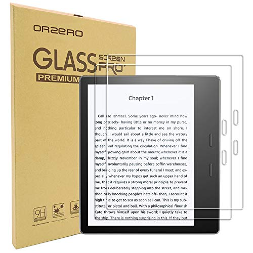 (2 Pack) Orzero for All New Oasis E-Reader 10th Gen 2019 Release, Oasis 7 inch 2017 Release Tempered Glass Screen Protector, 9 Hardness HD Anti-Scratch Bubble-Free (Lifetime Replacement)