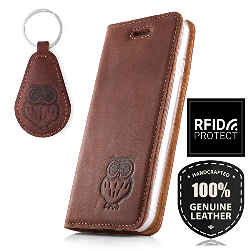 SURAZO Handy Hülle Für Sony Xperia XZ1 Compact - Eule - RFID Smart Magnet Nubuk Nussbraun - Glattleder Premium - Vintage Wallet Case