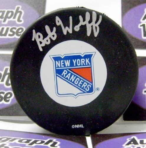 Bob Wolff autographed Hockey security Phoenix Mall Puck New Broadcaster York Rangers