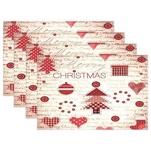 Vintage Merry Christmas Tree Placemats Retro Heart Xmas Stocking Table Mats Antideslizante Lavable Place Mats Bandeja Mat 12x18inch Juego de 4