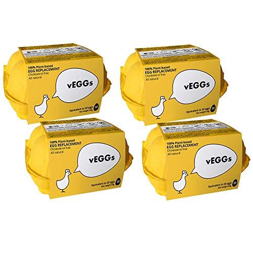 Sustituto de Huevo 100% Vegano basado en plantas para preparar postres veganos | 100% Sin Gluten | Facil de preparar (Pack de 4)