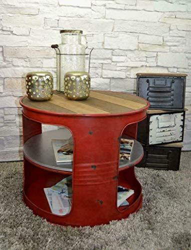 Livitat® Couchtisch Beistelltisch Weiß Metall Ölfass Vintage Industrie Look LOFT Shabby LV5028 Rot