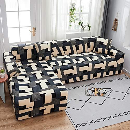 PPMP Funda de sofá elástica elástica, Utilizada para la Funda de sofá de Spandex de la Sala de Estar, Funda de sofá, Toalla de sofá elástica, Forma de L, Funda de sofá A13 de 2 plazas