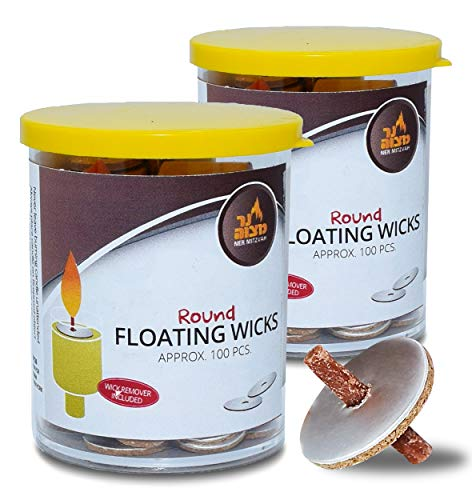 Round Floating Wicks – 200 Count Tub (Approx.), Cotton Wicks and Cork Disc Holders For Oil Cups - Bonus Wick Removal Tweezers - by Ner Mitzvah