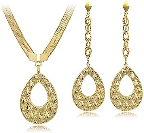 ZPPYMXGZ Co.,ltd Collar Gota de Agua Cobre Dubai joyería Conjunto para Mujeres Largos Vintage Pendientes Colgante Collar para Fiesta Exquisita joyería Collar Longitud 43Cm