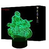 3D Moto ilusión Lámpara Luz Nocturna 7 Colores Cambiantes Touch USB de Suministro de Energía Juguetes Decoración Regalo de Navidad Cumpleaños