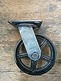 Rueda giratoria para muebles industriales vintage de 150 mm, acabado envejecido, 300 kg