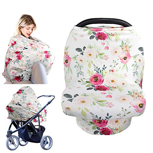 Baby Car Seat Cover, Breastfeeding Nursing Covers for Babies, Soft Breathable Multi-Use Nursing Cover Ups for Stroller High Chair Shopping Cart,Baby Shower Gifts