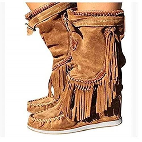 NANFAN Western Cowboystiefel Damen Schnürstiefel Mittelhohe Stiefel Große Größe Quaste Cowboystiefel Damen Wildlederstiefel Lässige Runde Zehenschuhe,Brown-35