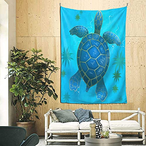 Tapiz de pared de tortuga de mar azul de dibujos animados para colgar en la pared, tapices de pared verticales de tortugas aniaml acuáticas subacuáticas tapiz recto para dormitorio, sala de es