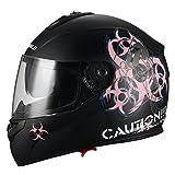 "TRIANGLE ""Biohazard"" Full Face Matte Pink Dual Visor Street Bike Motorcycle Helmet [DOT] (Large)"