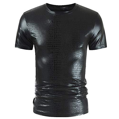 Summer Slim fit T-shirt met korte mouwen voor heren met helder gezicht voor heren - zwart - XXL