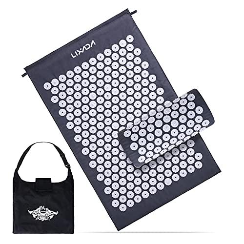 Lixada Estera de Acupresión y Almohada Redonda Kit de Coco con Imán y Bolsa de Mano para Alivio del Dolor Muscular del Espalda/Cuello