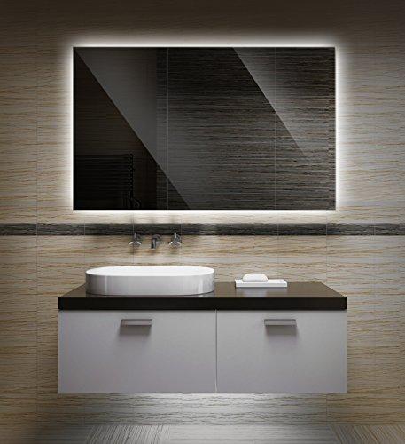 Badezimmerspiegel mit Beleuchtung LED Spiegel - 90x60 cm -Badspiegel mit Licht - Design Spiegel für Bad und Gäste WC hinterleuchtet - beleuchteter Wandspiegel Rahmenlos - OZ-LED