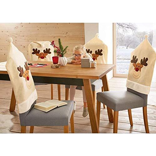 Tyhbelle 4 Stück Stuhlhusse Nikolausmütze Stickerei-Elch Husse Stuhl Nikolaus Weihnachten Weihnachtsmann Husse Deko