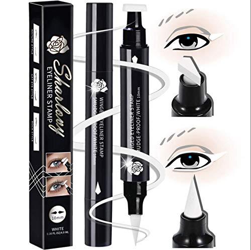 Winged Eyeliner Stamp-2 Eyeliner Pens for Perfect Wing Cat Eye Stamp Eyeliner Waterproof Smudge Proof, Long Lasting Makeup Liquid Eye Liner (10MM, White)