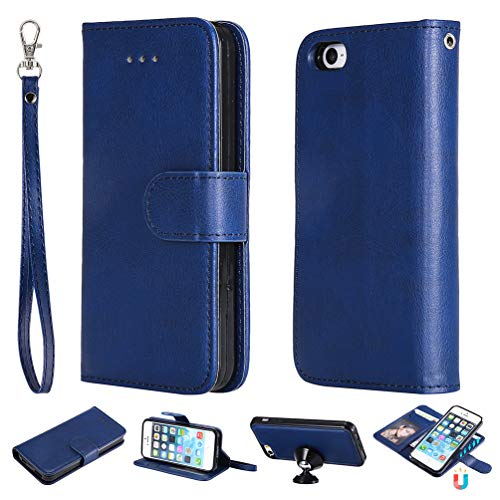 Funda iPhone 5, Carcasa Cuero Billetera Piel Libro Cover [Ranura Tarjeta, con Agujero Cordón] Color Sólido Protectora Slim Bumper Leather Wallet Folio Color Puro Estuches para iPhone SE - Azul oscuro