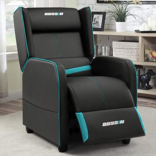 BOSSIN Gaming Recliner Chair Single Recliner Sofa PU Leather Recliner Seating Sofa Ergonomic Lounge Recliner Chair Home Movie Theater Seating Sofa for Living Room (Cyan)