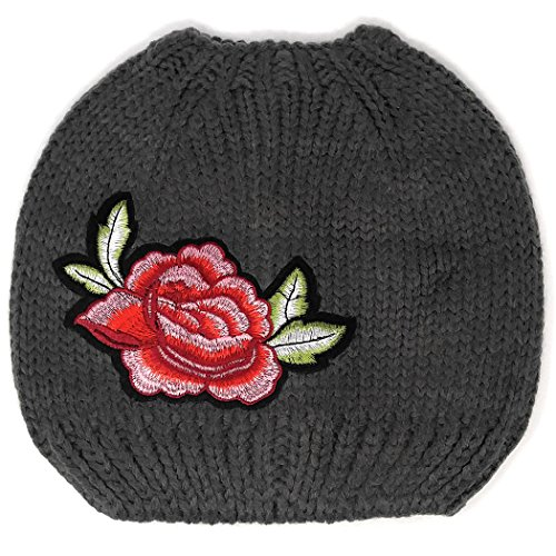 MWS Knit Crochet Messy Bun Beanie Pony Tail Hat With Vintage Embroidered Flower Patch (Grey)
