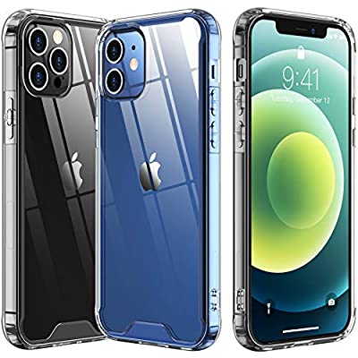 """Temdan for iPhone 12 Case/iPhone 12 Pro Case 6.1"""" [Drop Protection] [Shock-Absorbing Corners] Acrylic Case for iPhone 12/iPhone 12 Pro 2020 6.1inch – Clear"""