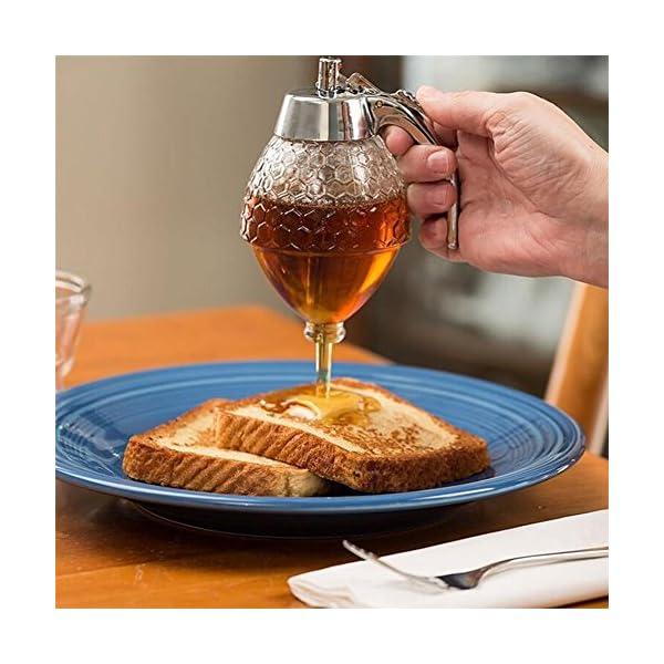 Dispensador de miel y sirope, de vidrio, sin goteo, recipiente acrílico,