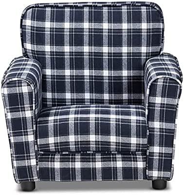 BOWERY HILL Blue and Sale White New popularity Plaid Kids Fabric Upholstered Armchai