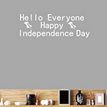 BIBITIME Hello Everyone Happy Independence Day Wall Decal Saying Quotes Vinyl Sticker for Living Room Front Door Office Shop Store Window Showcase Nursery Bedroom (White, DIY)