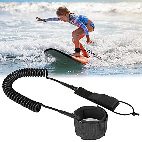 Sporgo Surfboard Leash,7mm 10 Füße Surf Sicherheitsfuß Seil,Aufgerollte TPU Paddle Leash mit Fußschlaufe Klettverschluss für Stand Up Paddle SUP Board Flat Open Water Surfbrett (schwarz)