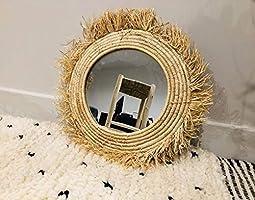 Miroir en raphia rond, miroir rond en macramé, miroir marocain à franges, miroir bohème ethnique, miroir rond rotin
