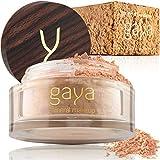 Fond de Teint Poudre Minérale Vegan - Poudre Base Maquillage Fixante 4 en 1 Multifonctions Couvrance Totale, Anti Cernes, Poudre et Protection Solaire (Nuance MF5)