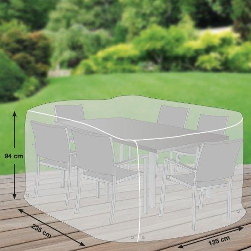 Custodia protettiva premium per sedie da giardino rettangolare in poliestere Oxford 600d–Grigio chiaro–di 'mehr Garten'–Taglia L (235x 135cm)