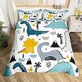 Kids Bedding Set, Cute Cartoon Dinosaur Pattern Comforter Cover for Boys Children Lovely Animal World Bedroom Decor Duvet Cover, Geometry Stripe Grid Printed Soft Microfiber Bedspread, King Size