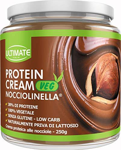 Ultimate Italia Protein Cream Veg Nocciolinella - Crema Proteica Spalmabile Vegana Col 30% Di Proteine Vegetali – 100% Vegetale - Con Anacardi E Mando