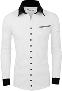 TAM WARE Men's Casual Fashion Collar Contrast Button Up Cardigan