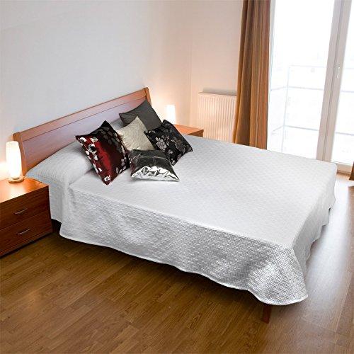 Burrito Blanco Colcha de Verano 100 con Un diseño Geométrico en Relieve para Cama de Matrimonio de 135x190 hasta 135x190cm/colcha de Verano 135, Color Blanco