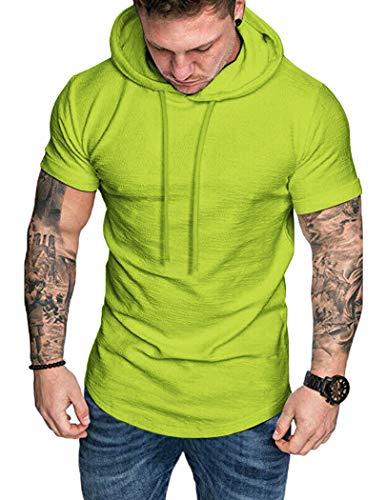 COOFANDY Herren Muskelshirt Fitness Shirt Sport Shirt Trainingsshirt Kurzarm Leuchtendes Grün XL