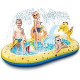 Ksasmile Piscina para niños, piscinas hinchables con chorros 165 x 100 x 17 cm, piscinas hinchables para niños con chorro de agua para patios, jardines y fiestas de verano