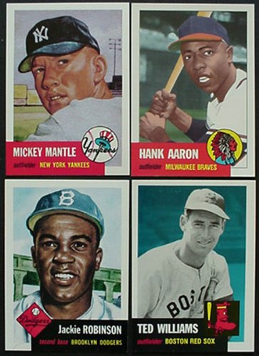 1991 Topps Archives 1953 Reprint Complete 330 Card Set. Loaded with Stars and Hall of Famers Including Mickey Mantle, Jackie Robinson, Roy Campanella, Eddie Mathews, Pee Wee Reese, Yogi Berra, Phil Rizzuto, Satchel Paige, Willie Mays, Hank Aaron, Ted Williams, Casey Stengel and More!