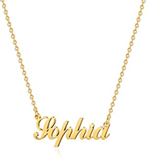 M MOOHAM Gold Custom Name Necklace Personalized - 18K Gold Plated Personalized Name Necklaces for Women Girls Kids Teens, ...