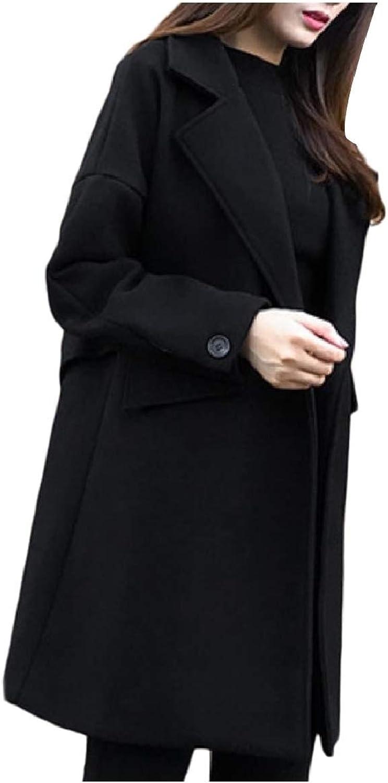 Abetteric Women Notch Lapel Overcoat Coat Wool Blend Button Casual Trench Coat